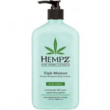 Intensyviai drėkinantis kūno kremas su augaliniais ekstraktais HEMPZ Triple Moisture Herbal Whipped Body Cream, 500 ml