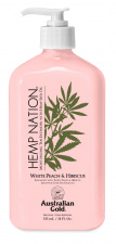 AUSTRALIAN GOLD Hemp Nation® kremas po deginimosi White Peach & Hibiscus Moisturizing Tan Extender with Hemp Seed Oil, 535 ml