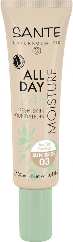 SANTE Drėkinamasis makiažo pagrindas All Day Moisture 24h Fresh Skin Foundation, 30 ml