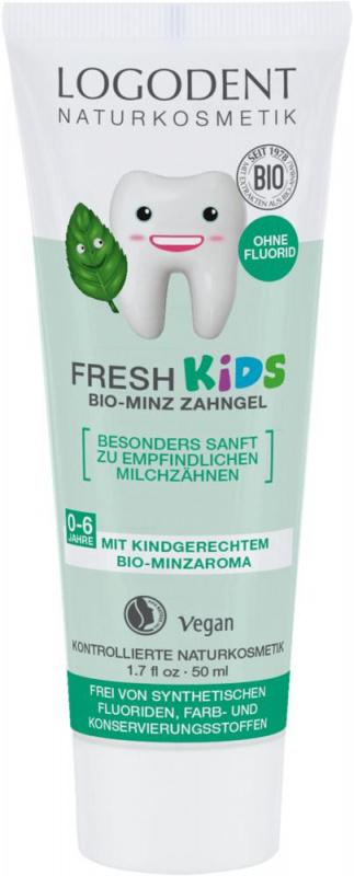 LOGONA vaikiškas dantų gelis su pipirmėtėmis Logodent Fresh, 50 ml