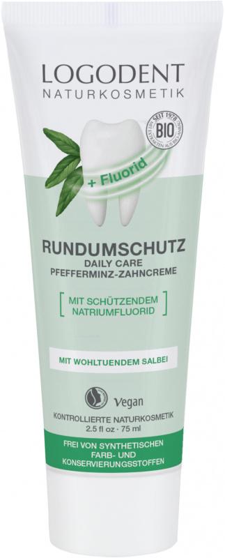 LOGODENT kasdienė dantų pasta su itin gaiviomis ekologiškomis pipirmėtėmis ir fluoru Complete Protection, 75 ml