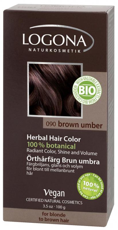 LOGONA Natūralūs augaliniai plaukų dažai Brown Umber Herbal Hair Colours, 100 g