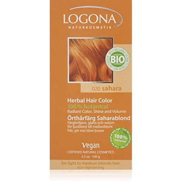 LOGONA Natūralūs augaliniai plaukų dažai SAHARA Herbal Hair Colours, 100 g