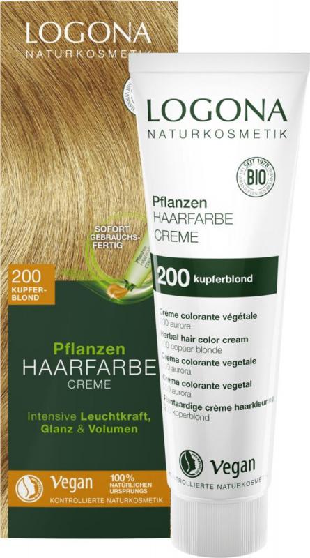 Logona augaliniai kreminiai plaukų dažai Herbal Hair Dye Cream 200 Copper Blonde, 150 ml