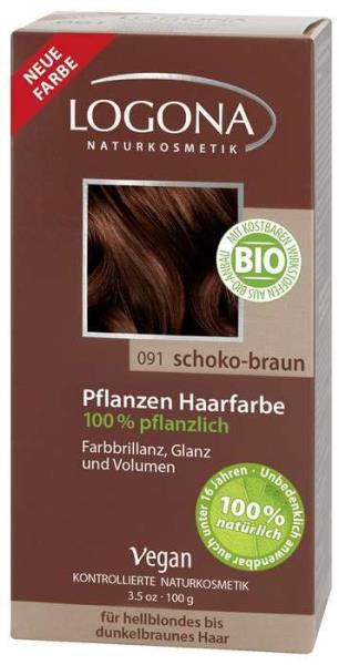 Logona Natūralūs augaliniai plaukų dažai CHOCOLATE BROWN Herbal Hair Colours, 100 g