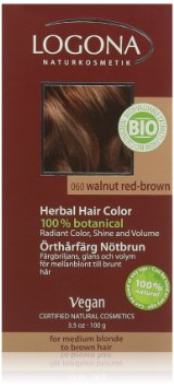 LOGONA Natūralūs augaliniai plaukų dažai Walnut Red-Brown Herbal Hair Colours, 100 g