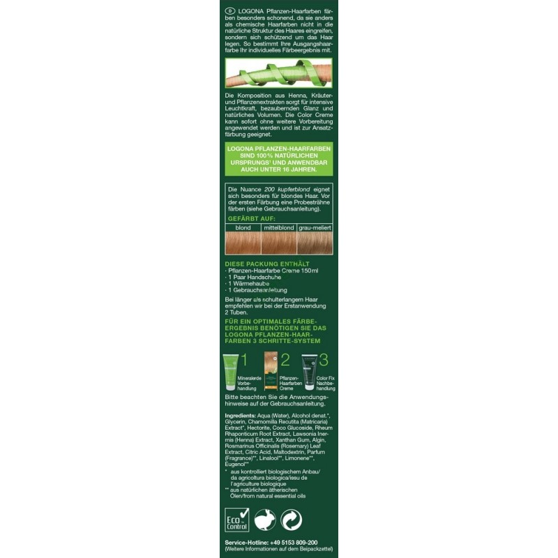 Logona Augaliniai kreminiai plaukų dažai Herbal Hair Dye Cream 210 Copper Red, 150 ml